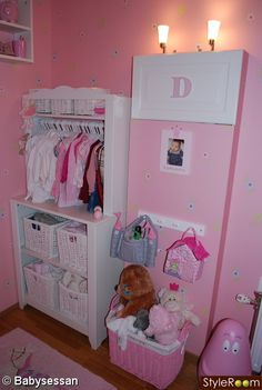 wardrobe idea, possibly clothes at bottom with material over shelve at top.