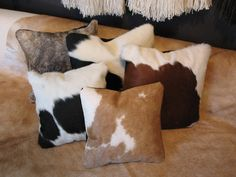 Sexiness comes in all shapes and sizes, but these are square, soft, and all-natural leather Cowhide Decor, Cowhide Furniture, Cowhide Pillows, Western Furniture, Throw Pillows, Ranch Decor, Southwest Decor, Leather Pillow, Western Homes