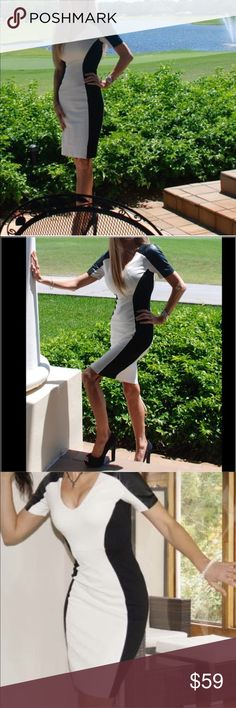 """""""XOXO"""" Sexy Stretch Leatherette Shoulder Dress """"XOXO"""" form fitting dress is sexy and feminine featuring black and white fabrication. V-neck style. Offers good stretch for easy fit. Zipper closure at back. Leatherette detail short sleeves. XOXO Dresses"""