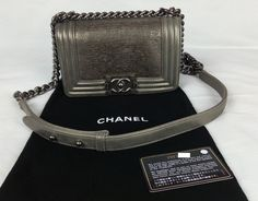 100% Authentic CHANEL Boy Bag Small Lizard Metallic Gray Limited Edition NEW #CHANEL #BoyBagSmall