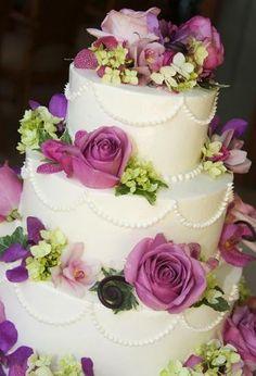 Summer Pink Purple Round Wedding Cakes Photos & Pictures - WeddingWire.com