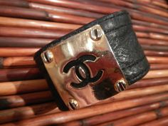 VINTAGE CHANEL LEATHER PLATED CUFF...<3