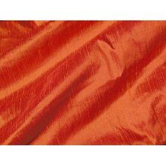 Deep Pumpkin Burnt Orange Iridescent Dupioni Silk Fabric