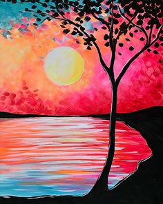 Easy Canvas Painting, Simple Acrylic Paintings, Spring Painting, Diy Canvas Art, Diy Painting, Simple Canvas Art, Paintings On Canvas, Sunset Painting Easy, Sunset Paintings