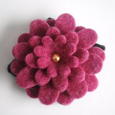 for a girly girl:  wool flower pin