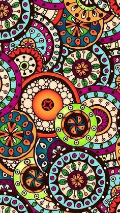 Graphic Wallpaper, Colorful Wallpaper, Mandala Art, Cellphone Wallpaper, Iphone Wallpaper, Cute Wallpapers, Wallpaper Backgrounds, Pattern Art, Print Patterns