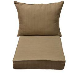 allen + roth Natural/Wheat Texture Deep Seat Patio Chair Cushion for Deep Seat Chair