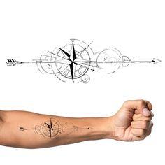 Arrow Compass Tattoo, Arrow Forearm Tattoo, Compass Tattoo Design, Cool Forearm Tattoos, Arrow Tattoos, Feather Tattoos, Arm Band Tattoo, Hand Tattoos, Arrow Tattoo Design