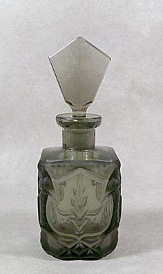 Czech Art Deco gray glass perfume bottle