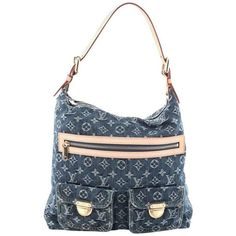 Preowned Louis Vuitton Baggy Handbag Denim Gm ($730) ❤ liked on Polyvore featuring bags, handbags, shoulder bags, louis vuitton, louis vuitton purse, louis vuitton handbags and louis vuitton shoulder bag