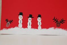 Snowman Wishes Card Fingerprint (Add few white splash with a toothbrush and you have a blizzard!)