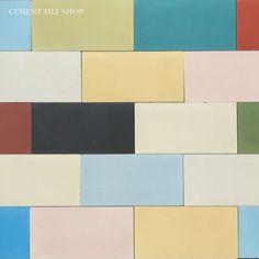 """Cement Tile Shop - Encaustic Cement Tile Patchwork Random - 4"""" x 8"""" Solids"""