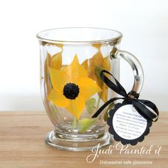 sunflower glass mug that is hand painted.  FREE by JudiPaintedit, $15.00