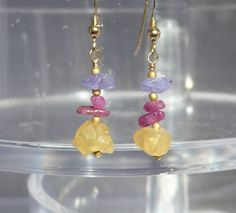Citrine Earrings, raw citrine, raw gemstone earrings, Citrine Rough, Tanzanite Rough, Ruby Rough, Gemstone Earrings by ThreeMagicGenies on Etsy