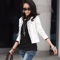 Handmade Rivets No Button Long Sleeve Slim Office Jacket