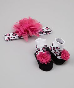 This Pink & White Leopard Headband & Socks by Lovespun is perfect! #zulilyfinds