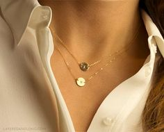 Suspended Circle Necklace Disk / Delicate by LayeredAndLong