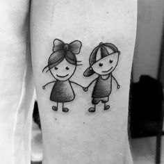 23 Awesome Brother and Sister Tattoos to Show Your Bond Twin Tattoos, Brother Tattoos, Matching Sister Tattoos, Sibling Tattoos, Dot Tattoos, Family Tattoos, Hand Tattoos, Anchor Tattoos, Stick Figure Tattoo