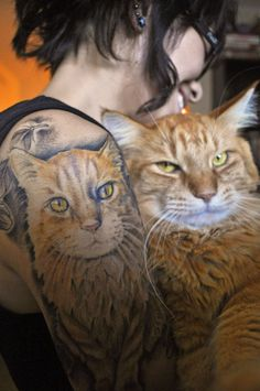 This cat tattoo is a perfect match!