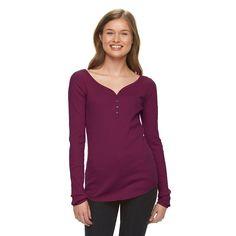 Juniors' SO® Ribbed Henley Tee, Girl's, Size: Medium, Dark Pink