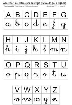 Lletres per confegir (pal i lligada) Preschool Letters, Preschool At Home, Alphabet Activities, Preschool Classroom, Kindergarten Worksheets, Worksheets For Kids, Learning Resources, Teacher Resources, Teaching Cursive Writing