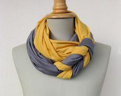 Tücher - RESERVIERT loop aus jersey in grau und gelb - ein Designerstück von StAnderswo bei DaWanda