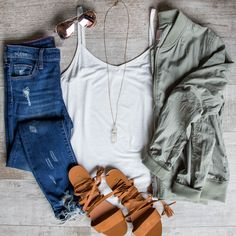 Tillie Tank Top in White and Face to Face Bomber on shoppriceless.com