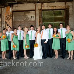 clover green dresses with orange/yellow accents