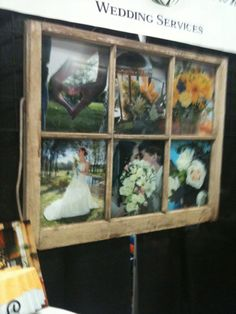 Different way of displaying photos.  Use black and white engagement pictures for the display at a wedding.