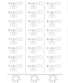 Printable Multiplication Worksheets, Kindergarten Addition Worksheets, First Grade Math Worksheets, 1st Grade Math, Preschool Math, Kindergarten Math, Math Fact Fluency, Math Sheets, Math Numbers