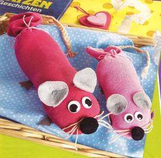 """""""Süße Socken-Maus"""", Basteln mit Kindern"""