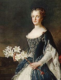 Marie Leszcynska, married to Louis XV in 1725. Portrait by Alexis Simon Belle.