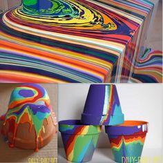 painting plant pots ideas | rainbowsandunicornscrafts:DIY Pour Painting Flower Pots Tutorial. This ...