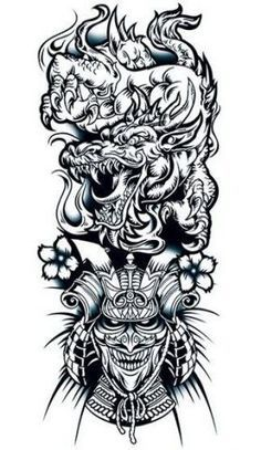 Chinese Dragon & Warrior Sleeve Tattoo - Awesome black half-sleeve tattoo with . - Chinese Dragon & Warrior Sleeve Tattoo – Awesome black half-sleeve tattoo with a Chinese dragon - Dragon Tattoo With Skull, Dragon Sleeve Tattoos, Japanese Dragon Tattoos, Forearm Sleeve Tattoos, Dragon Tattoo Designs, Best Sleeve Tattoos, Tattoo Sleeve Designs, Cool Tattoos, Chinese Sleeve Tattoos