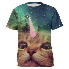 Mr. Gugu & Miss Go Pink Cat Unicorn Sublimation Tee (40 BGN) ❤ liked on Polyvore featuring tops and t-shirts
