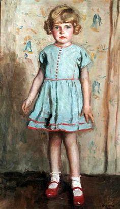 Young Girl In A Blue Dress-Harrington Mann (1864 – 1937, English)