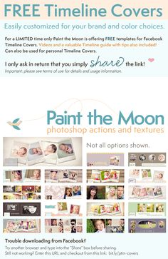 Create custom Facebook Timeline Covers with Paint the Moon's free templates for business and personal pages.  Also includes an extensive photographer's guide to Timeline on Facebook Business pages. Videos, tips and tricks.