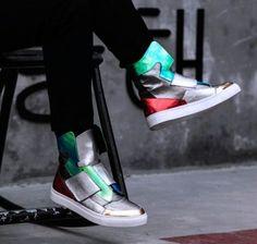 Mens printed high top sneakers leather street night dancing Korean fashion shoes   eBay