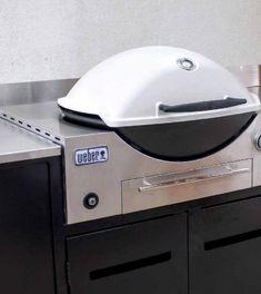 Weber Family Q Built In - Bbq - Outdoor Living Outdoor Lounge, Outdoor Living, Outdoor Bbq Kitchen, Outdoor Kitchen Design, Outdoor Kitchens, Outdoor Cooking, Webber Bbq, Modern Pools, Built In Grill