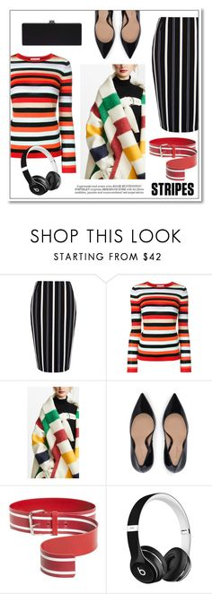 """""""Stripes on Stripes"""" by hellodollface ❤ liked on Polyvore featuring River Island, Bella Freud, Monse, Beats by Dr. Dre, Whiteley, stripesonstripes and PatternChallenge"""