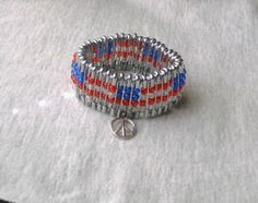 American Flag Beaded Safety Pin Bracelet with Charm - fun craft for 4th of July?