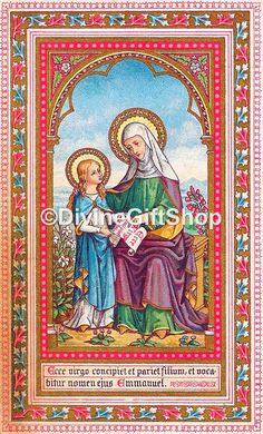 Icon St Ann Mother of The Virgin Mary. 5 X 7 by Divinegiftshop