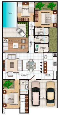 Lançamento de Projeto de Casa Térrea, 3 quartos e 2 suites, pronta para construir, com 142 m2. Conheça dezenas de plantas de casas com modelos modernos. #modelosdecasasterrea