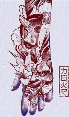 Hannya Maske Tattoo, Oni Mask Tattoo, Hanya Tattoo, Yakuza Tattoo, Japanese Demon Tattoo, Japanese Hand Tattoos, Japanese Tattoo Designs, Japan Tattoo Design, Tattoo Design Drawings
