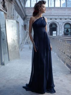 indigo chiffon one shoulder long bridesmaid dress