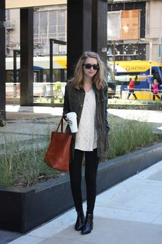 utility jacket, white sweater, black skinny jeans, black booties