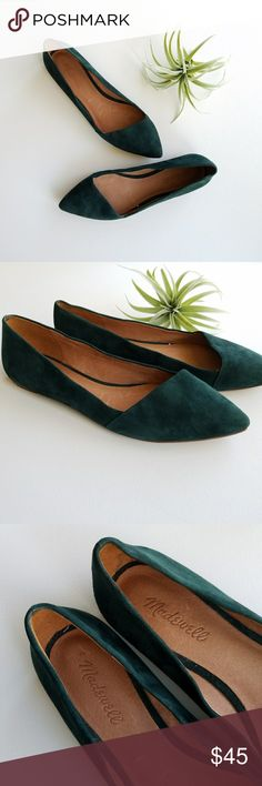 MADEWELL Suede Mira Flats Size 8 1/2 Adorable dark green suede Mira Flats from MADEWELL. Good pre-loved condition. Suede is in great condition, so scuffs or marks. Minor wear to soles and tiny scuffs on inside (see pics).  Smoke free pet free home. Madewell Shoes Flats & Loafers
