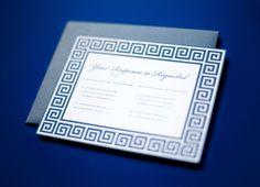 Greek wedding invitations--i like the frame design