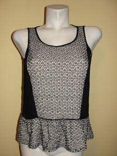 Ann Taylor Loft Top Black Beige Eyelet Tiered Hem Tank Rayon BOHO Shirt Sz S #AnnTaylorLOFT #Blouse #Casual