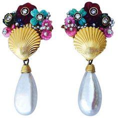 William De Lillo Tutti Frutti Ear Drops 1969 ($1,400) ❤ liked on Polyvore featuring jewelry, earrings, multiple, vintage earrings, swarovski crystal earrings, vintage clip on earrings, baroque pearl earrings and vintage pearl earrings